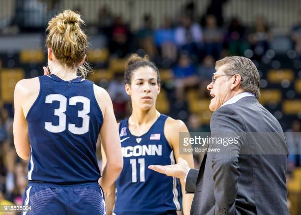 Connecticut Huskies head coach Geno Auriemma and Connecticut Huskies guard Kia Nurse discuss the play during the UCF Knights and the Connecticut...