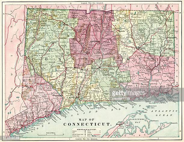 connecticut map 1884 xxxl - connecticut stock pictures, royalty-free photos & images