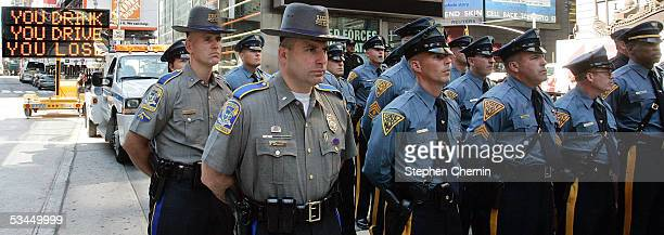 Connecticut New Jersey and New York State Troopers attend a news conference announcing the tristate kickoff of the You Drink and Drive You Lose...