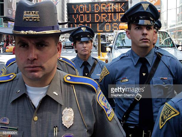 Connecticut New Jersey state troopers attend a news conference announcing the tristate kickoff of the You Drink and Drive You Lose national crackdown...