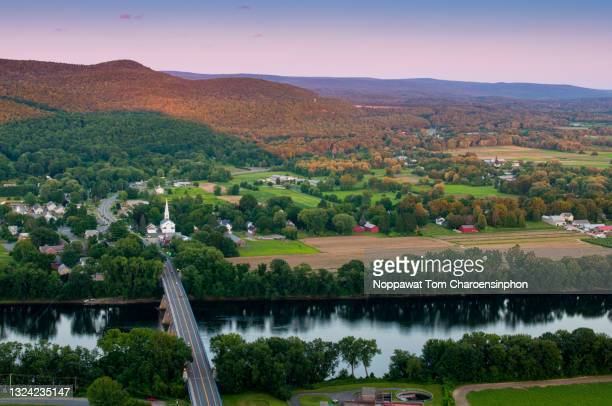 connecticut river overlook, massachusetts, usa - massachusetts stock pictures, royalty-free photos & images