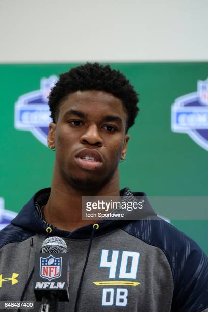 Connecticut strong safety HenryWilliam Melifonwu answers questions from members of the media during the NFL Scouting Combine on March 5 2017 at Lucas...
