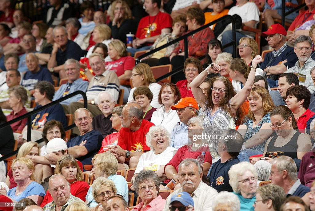 A Connecticut Sun dances in the stands during the Connecticut Sun v. the New York Liberty game on June 4, 2010 at Mohegan Sun Arena in Uncasville, Connecticut.