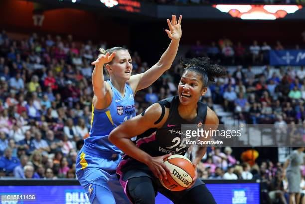 Connecticut Sun forward Alyssa Thomas defended by Chicago Sky guard Allie Quigley during a WNBA game between Chicago Sky and Connecticut Sun on...