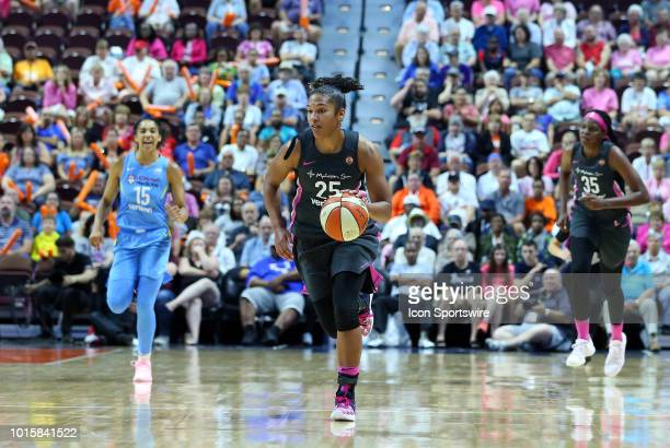 Connecticut Sun forward Alyssa Thomas fast breaks during a WNBA game between Chicago Sky and Connecticut Sun on August 12 at Mohegan Sun Arena in...