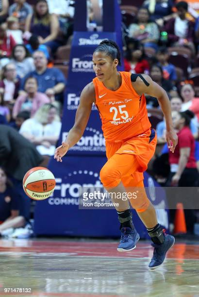 Connecticut Sun forward Alyssa Thomas fast breaks during a WNBA game between Minnesota Lynx and Connecticut Sun on June 9 at Mohegan Sun Arena in...