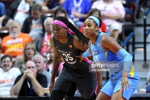 Connecticut Sun forward Jonquel Jones and Chicago Sky center Alaina Coates in action during a WNBA game between Chicago Sky and Connecticut Sun on...