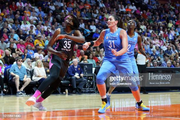 Connecticut Sun forward Jonquel Jones and Chicago Sky center Stefanie Dolson in action during a WNBA game between Chicago Sky and Connecticut Sun on...
