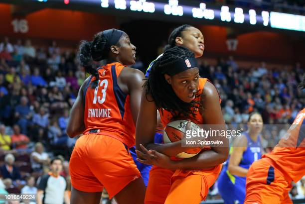 Connecticut Sun forward Jonquel Jones grabs a rebound during a WNBA game between Dallas Wings and Connecticut Sun on August 14 at Mohegan Sun Arena...