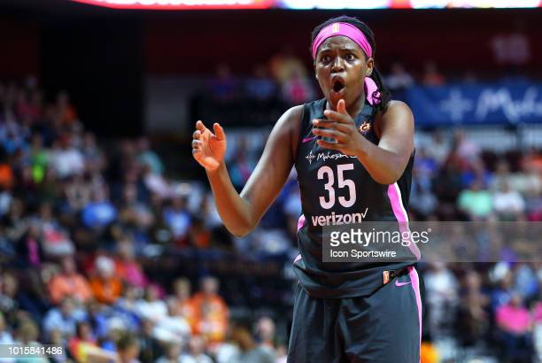 Connecticut Sun forward Jonquel Jones reacts during a WNBA game between Chicago Sky and Connecticut Sun on August 12 at Mohegan Sun Arena in...