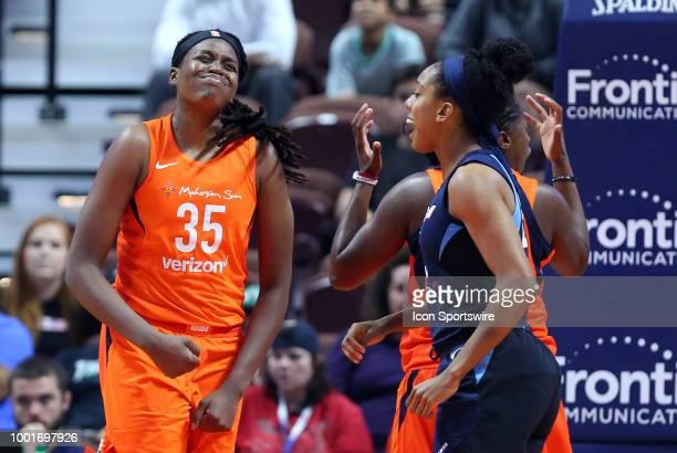 Connecticut Sun forward Jonquel Jones reacts to a call during a WNBA game between Atlanta Dream and Connecticut Sun on July 17 at Mohegan Sun Arena...
