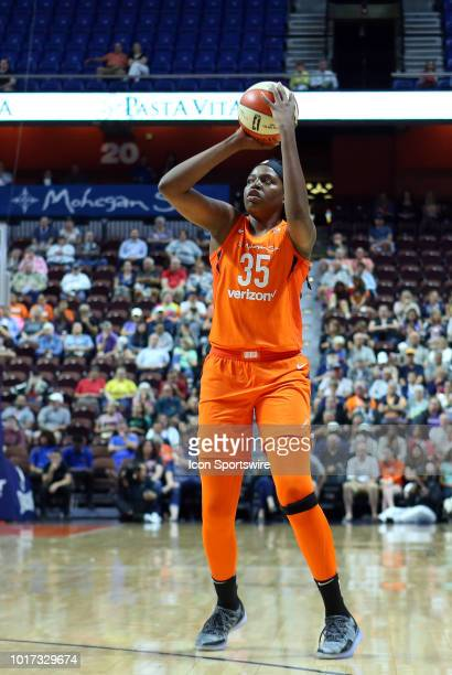 Connecticut Sun forward Jonquel Jones shoots the ball during a WNBA game between Dallas Wings and Connecticut Sun on August 14 at Mohegan Sun Arena...