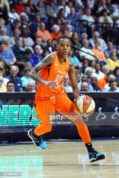 Connecticut Sun guard Courtney Williams in action during a WNBA game between Minnesota Lynx and Connecticut Sun on August 17 at Mohegan Sun Arena in...