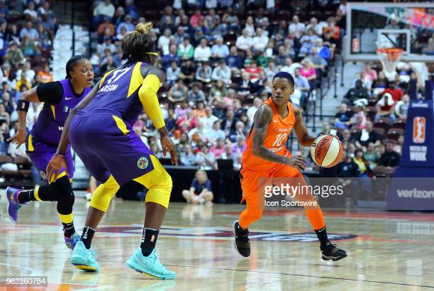 Connecticut Sun guard Courtney Williams with the ball during a WNBA game between Los Angeles Sparks and Connecticut Sun on May 24 at Mohegan Sun...