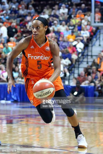 Connecticut Sun guard Jasmine Thomas drives to the basket during the second half of an WNBA game between Chicago Sky and Connecticut Sun on August 25...