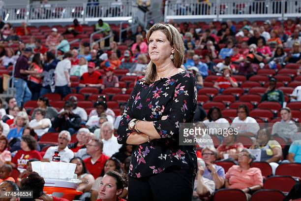 Connecticut Sun head coach Anne Donovan watches on during a preseason game against the Indiana Fever on May 23 2015 at KFC YUM Center in Louisville...
