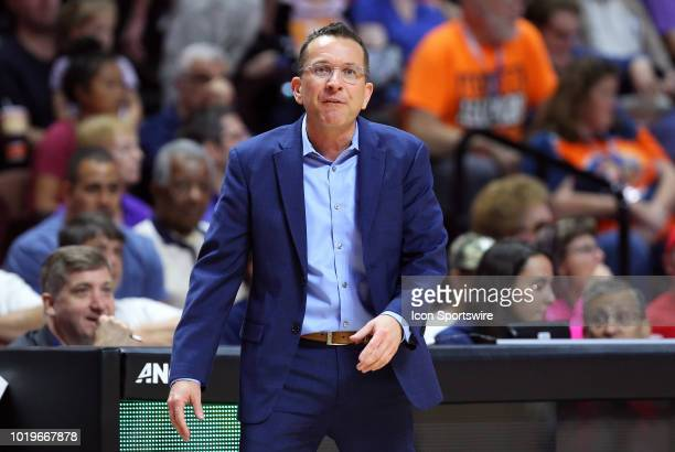 Connecticut Sun head coach Curt Miller during a WNBA game between Los Angeles Sparks and Connecticut Sun on August 19 at Mohegan Sun Arena in...