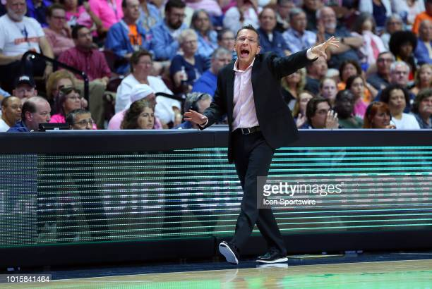 Connecticut Sun head coach Curt Miller instructs his team during a WNBA game between Chicago Sky and Connecticut Sun on August 12 at Mohegan Sun...