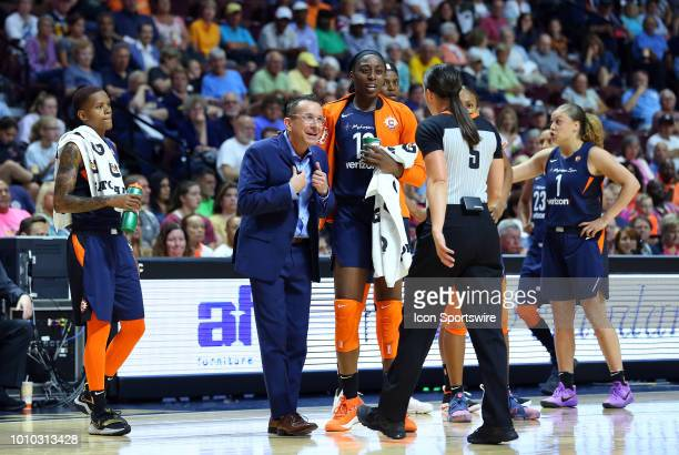 Connecticut Sun head coach Curt Miller reacts after receiving a technical foul during a WNBA game between New York Liberty and Connecticut Sun on...