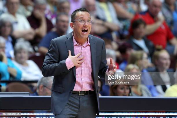 Connecticut Sun head coach Curt Miller reacts after receiving a technical foul during a WNBA game between Minnesota Lynx and Connecticut Sun on...
