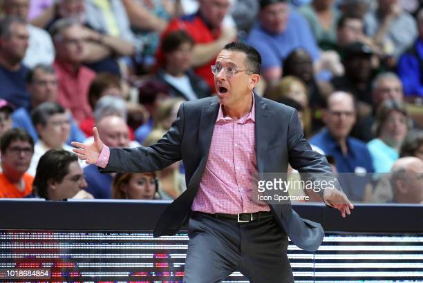 Connecticut Sun head coach Curt Miller reacts during a WNBA game between Minnesota Lynx and Connecticut Sun on August 17 at Mohegan Sun Arena in...