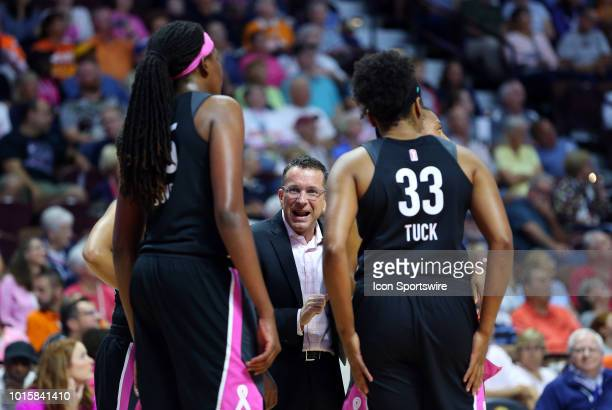 Connecticut Sun head coach Curt Miller speaks with his team during a WNBA game between Chicago Sky and Connecticut Sun on August 12 at Mohegan Sun...