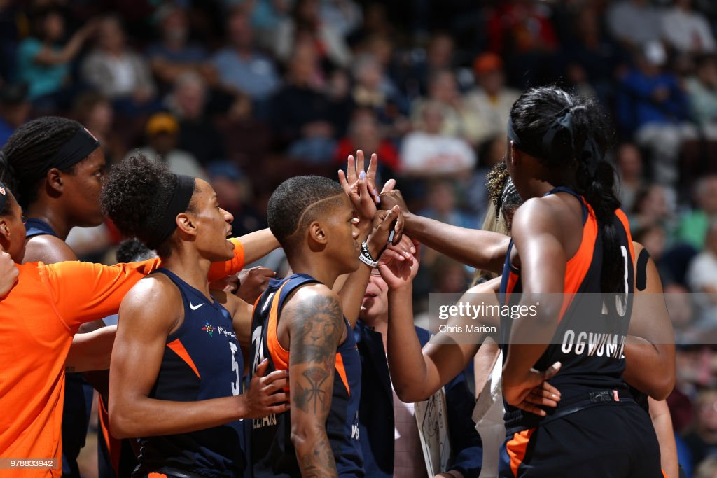 Connecticut Suns huddle during a WNBA game on June 13, 2018 at the Mohegan Sun Arena in Uncasville, Connecticut.