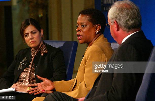 Connecticut Treasurer Denise Nappier center speaks at the MONEY Magazine Summit in New York on Tuesday June 8 2004 Joining Nappier on the panel from...