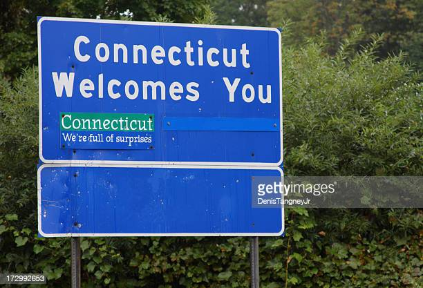 connecticut welcome sign - hartford connecticut stock pictures, royalty-free photos & images