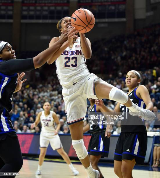Connecticut's Azura Stevens is fouled en route to the basket against Tulsa at Gampel Pavilion in Storrs Conn on Thursday Jan 18 2018 UConn won 7860