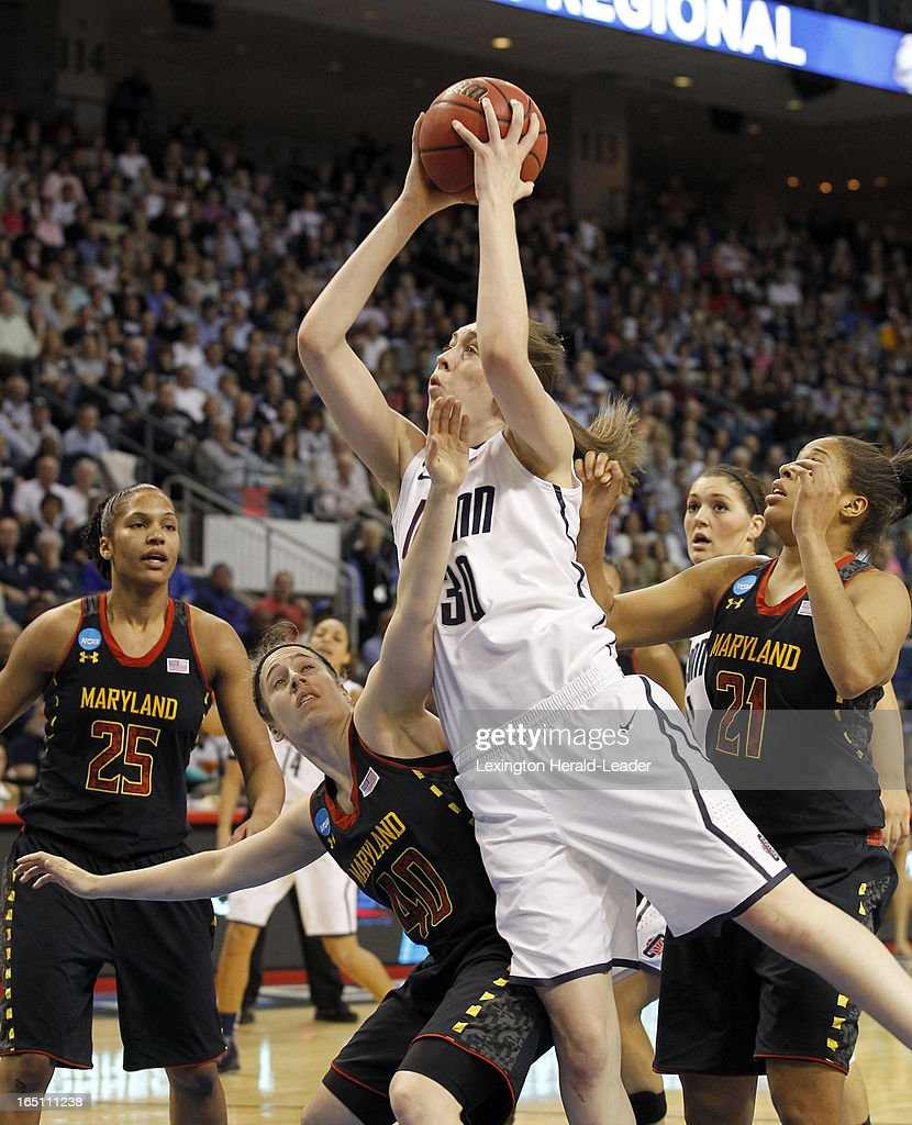Connecticut's Breanna Stewart (30) drives against Maryland's Katie Rutan (40) in their East Region Sweet 16 game on Saturday, March 30, 2013, at the Webster Bank Arena at Harbor Yard in Bridgeport, Connecticut. UConn moved on, 76-50.
