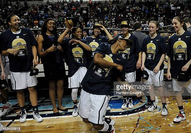 Connecticut's Brianna Banks does a little dance after a 7958 victory against Notre Dame in the NCAA women's National Championship game at the...