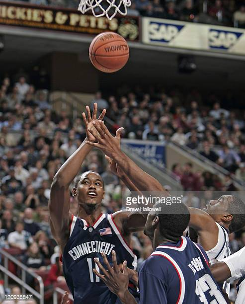 Connecticut's Hilton Armstrong puts up a shot Monday February 13 2006 at the Wachovia Center in Philadelphia PA Villanova University upset University...