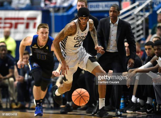 Connecticut's Terry Larrier drives to the basket after stealing a pass intended for Tulsa's Curran Scott at XL Center in Hartford Conn on Thursday...