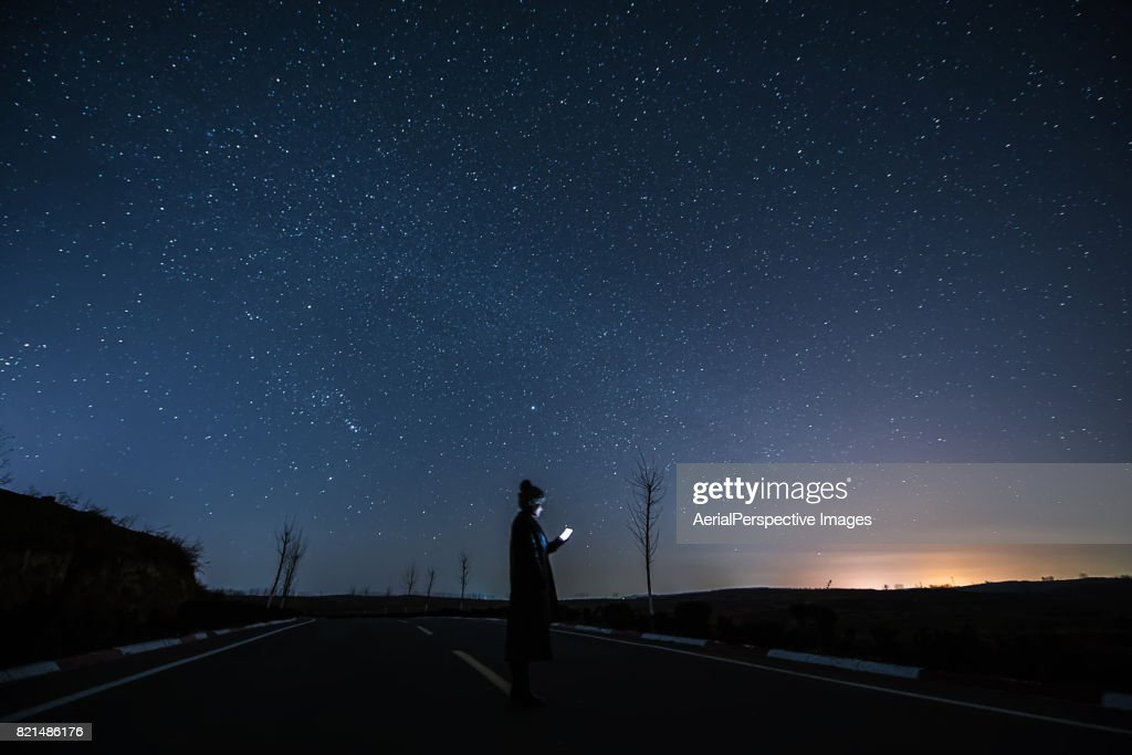 Connecting at Starry night : Stock Photo