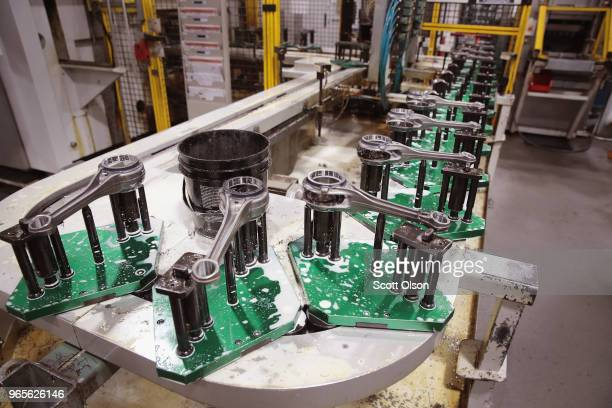 Connecting rods for HarleyDavidson motorcycle engines are machined at the company's Powertrain Operations plant on June 1 2018 in Menomonee Falls...