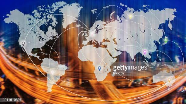 connection line icons on world map with blurred city and transportation system background. global wireless connection technology and worldwide business online concept. - europa continente foto e immagini stock