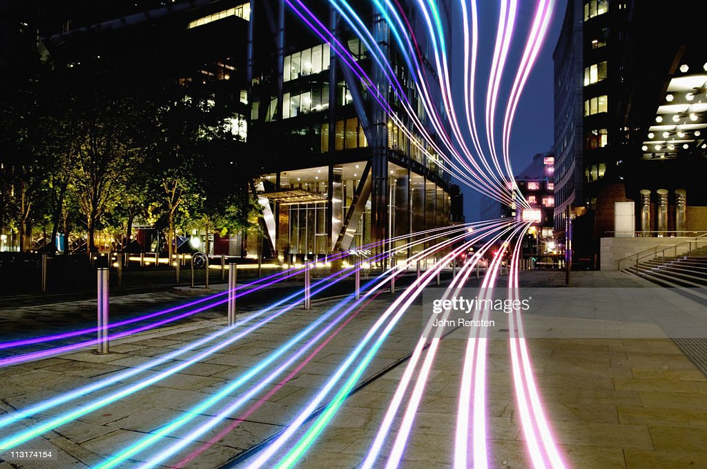 connection with dynamic  fibre optic light trail : Stock Photo