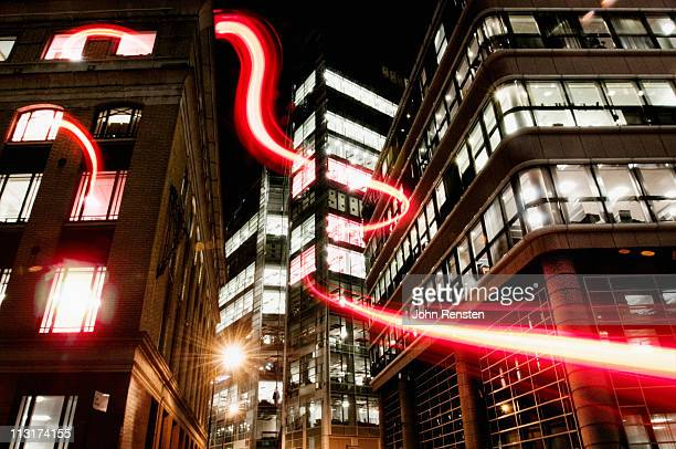 connection with dynamic  fibre optic light trail - data stream stock photos and pictures