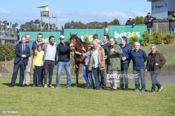 Connections of Altro Mondo after winning the Geelong Homes Maiden Plate at Geelong Racecourse on August 09 2017 in Geelong Australia