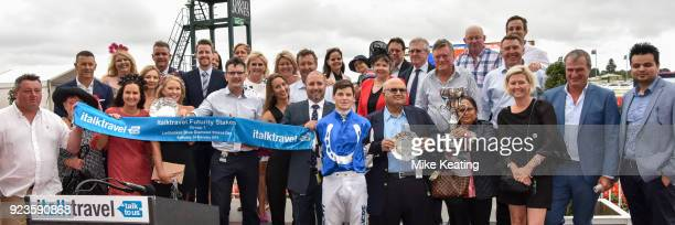 Connections of Brave Smash with Darren Weir and Craig Williams after winning the italktravel Futurity Stakes at Caulfield Racecourse on February 24...