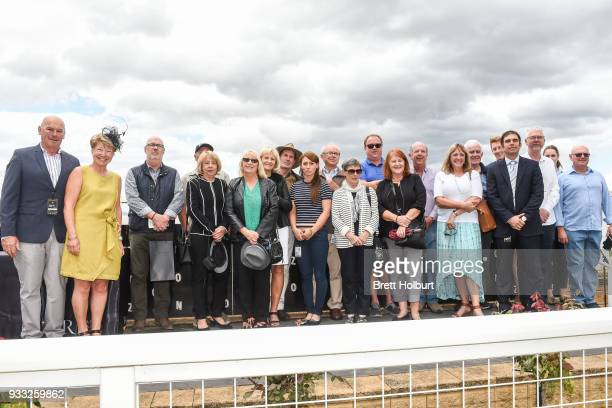 Connections of Christie after winning the Robert Rose Foundation Maiden Plate at Yarra Valley Racecourse on March 18 2018 in Yarra Glen Australia