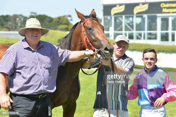 Connections of Elegant Queen after winning the Ron Hutchinson Turns 90 Hcp at Mornington Racecourse on December 13 2017 in Mornington Australia