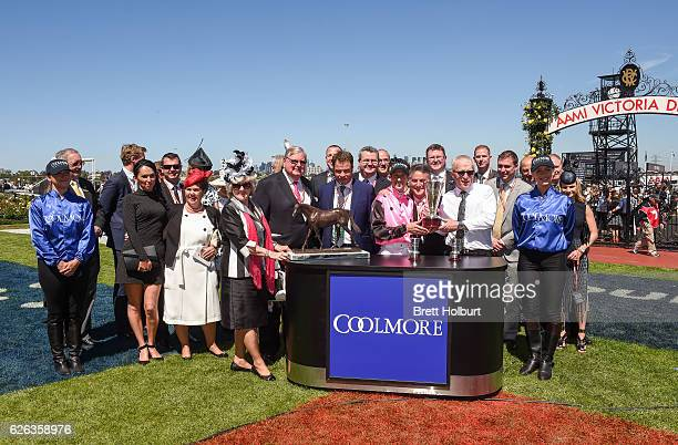 Connections of Flying Artie after winning Coolmore Stud Stakes at Flemington Racecourse on October 29 2016 in Flemington Australia