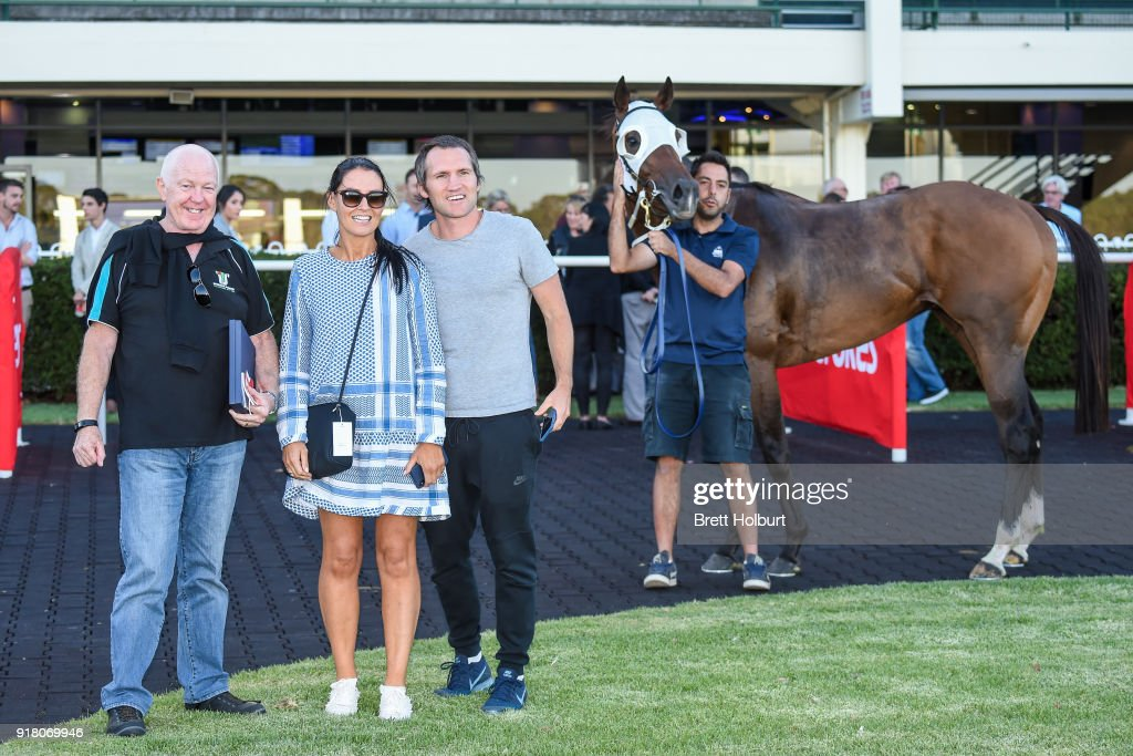 Connections of Heptagon (NZ) after winning the Ladbrokes Handicap at Ladbrokes Park Lakeside Racecourse on February 14, 2018 in Springvale, Australia.