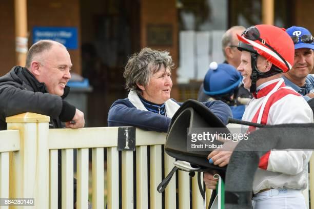 Connections of Hospeda after winning Ballarat Conveyancing BM58 Handicap at Avoca Racecourse on October 21 2017 in Avoca Australia