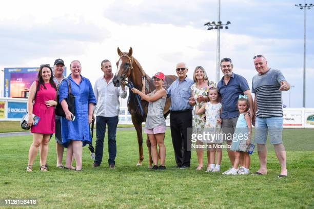 Connections of Hot Blonde after winning the Magic Millions Adelaide Yearling Sales Maiden Plate at Racingcom Park Racecourse on February 28 2019 in...