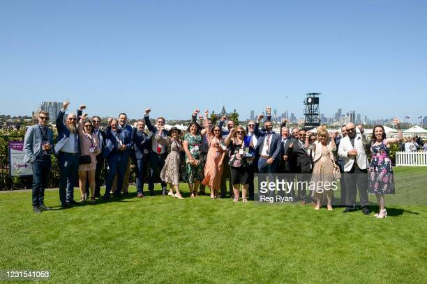 Connections of Lightsaber after winning the MSS Security Sires' Produce Stakes, at Flemington Racecourse on March 06, 2021 in Flemington, Australia.