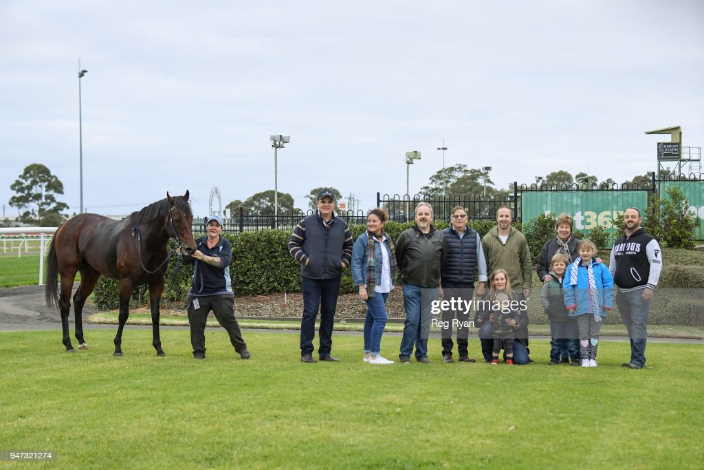 Connections of Luchador after winning the No Fuss Event Hire BM58 Handicap, at Geelong Racecourse on April 17, 2018 in Geelong, Australia.