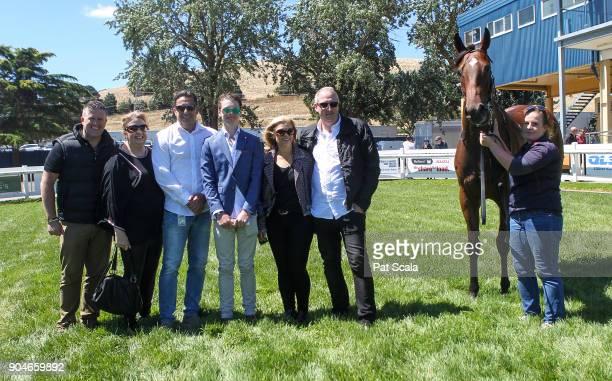 Connections of Notable Choice after winning Hertz Ballarat BM64 Handicapat SportsbetBallarat Racecourse on January 14 2018 in Ballarat Australia